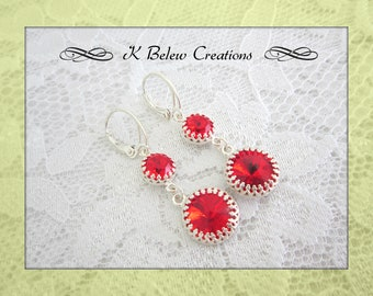Romantic Jewelry Earrings/Elegant Earrings Dangle/Red And Silver Jewelry Earrings/Gift For Her/Dangle Earrings Handmade/Free Shipping