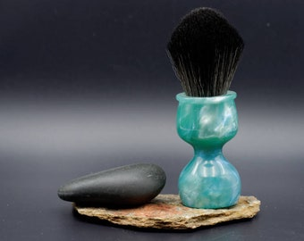 Shaving Brush - Hand-Made with hand-poured Blue and Sea and Silver Resin Handle and a Choice of Knots