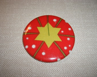 Pocket Mirror . Fabric . Mylar . Strawberry Pincushion