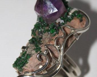 Uvarovite amethyst mosaic ring, 10 size WORLDWIDE FREE SHIPPING