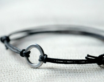 For Him Circle Infinity Bracelet  - Aluminium wire and waxed cotton - Men and Unisex bracelet - Vegan friendly
