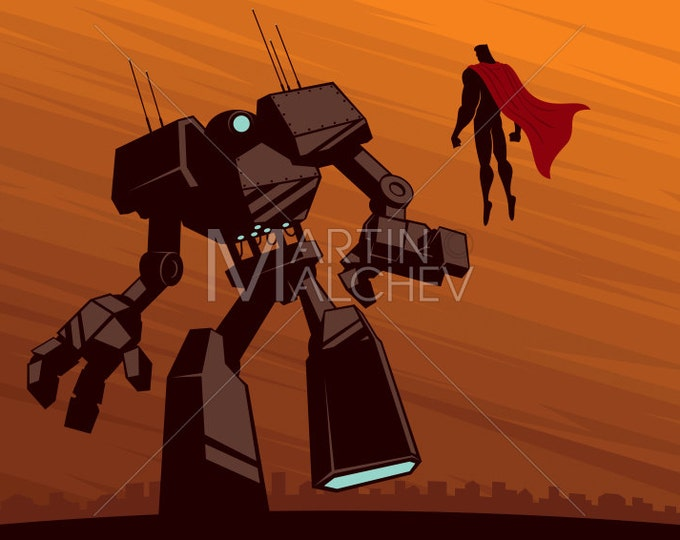 Superhero versus Robot - Vector Cartoon Illustration. super, hero, man, superman, robot, villain, silhouette, battle, comic book, sci-fi,