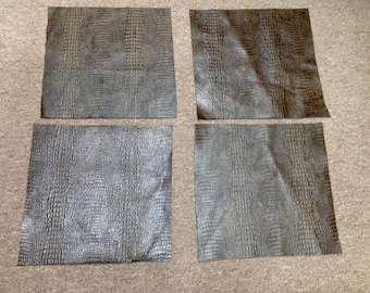 6-798.  Package of 4 Brown Embossed Hornback Gator Leather Cowhide Swatches