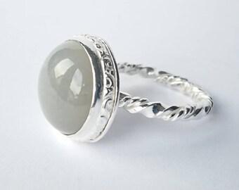 Sterling silver handmade grey opal ring, hallmarked in Edinburgh