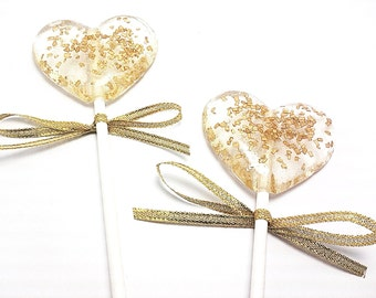 12 - HEART LOLLIPOPS with Gold Crystals and Gold Sparkle Ribbon - Wedding, Bridal Shower, and Party Favors