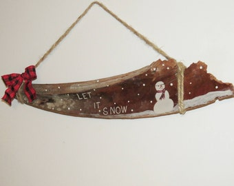 "ScrappyJacks ""Let It Snow"" Painted Palm Frond"