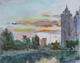 Digital Image, Sunset at the Rusanovskiy Canal, Watercolor, Painting, Green, Yellow, Gray, Evening, River, Summer, Reflections, For print