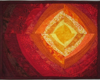 Art Quilt Sun Heat Waves 2, Wall Quilt, Quilted Wall Hanging, Abstract quilt