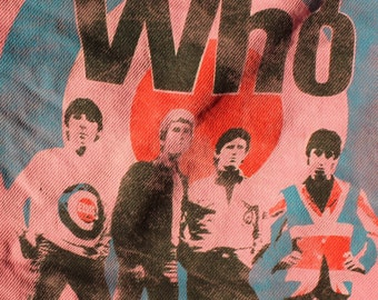 THE WHO ; pink silk screened  denim  jacket