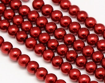 10mm Red Glass Pearl Imitation Round Beads - 16 inch strand - Approx 40-42 pieces