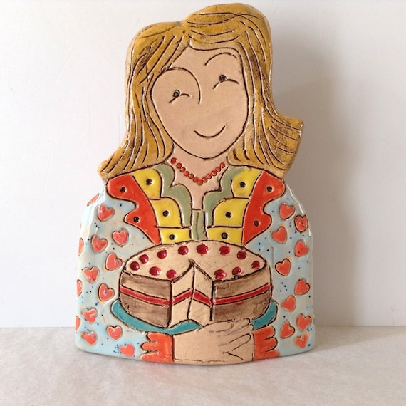 IN STOCK. Lady with Cake. Handmade ceramic bust, mini-bust, Colourful People, collectible, one of a kind