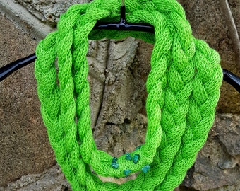 Unique handmade scarf Linen Necklace bright green knit linen natural necklace linen jewelry lace necklace fashion accessories gift for her