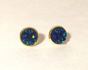 10mm druzy earrings in cobalt blue