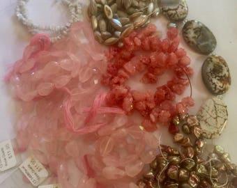 GRAB BAG of Rose Quartz, Pearls & Silverite