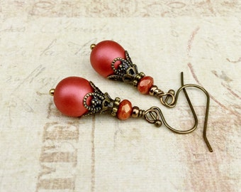 Red Earrings, Coral Red Earrings, Deep Pink Earrings, Dark Pink Earrings, Czech Glass Beads, Vintage Look Earrings, Victorian Earrings
