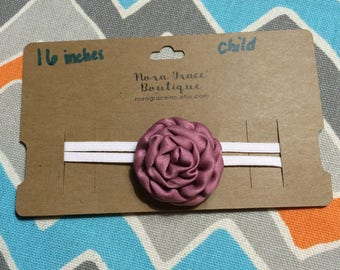 Child/Teen Sized Mauve Flower Headband (16 inches)