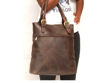 Women Leather Tote bag , Leather tote bag ,  Dark brown ladies bag for Laptop  market  library or every day use