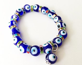 FREE SHIPPING - Evil eye charm bracelet, glass evil eye bracelet, evil eye bangle bracelet, blue evil eye bracelet, turkish evil eye beads