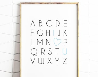 alphabet poster, i love you art, alphabet art, alphabet decor, kids room art, educational poster, kids poster, digital poster