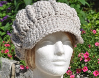 Women's Crochet Hat with Brim - Linen Colored Newsboy Hat - Women's Winter Accessories