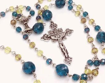 Lutheran Prayer Beads — Faceted Dark Aqua and Sand Czech Glass — 5 Decades