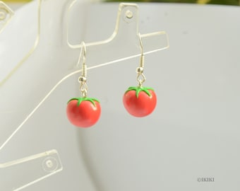 Tomato Earrings, Polymer Clay Vegetable Earrings, Mini Food Earrings, Tomato Jewelry, Vegetables Jewelry, Pomodoro Earrings