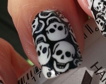 TINY SKULLS Nail Art Decals (SKT) - Full Skull Nail Wrap Day of the Dead Decoration Long and Short Nails Waterslide Nail art Stickers