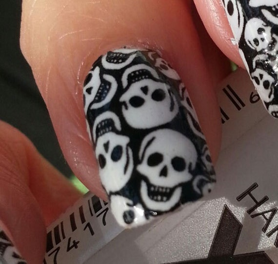 Description. TINY SKULLS Nail Art ... - TINY SKULLS Nail Art Decals SKT Full Skull Nail Wrap Day