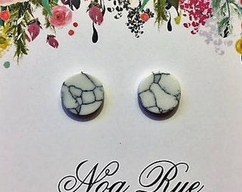 Marble Stone 10mm Stud Earrings