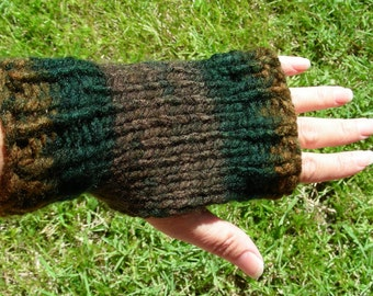 Fingerless Gloves wrist warmers fingerless mittens brown charcoal hand knit ribbing and stockinet stitch