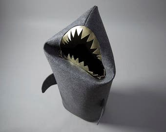SHARK, Felt laundry basket for bathroom or children's room as a basket for toys, anthracite, gold teeth, basket bin, Uczarczyk, Gift ideas,