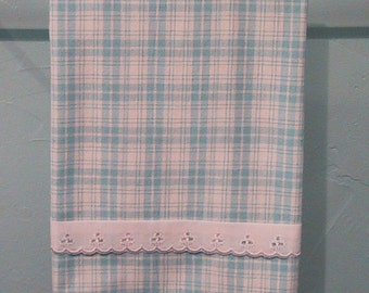 Kitchen Towel - Blue Plaid - Handmade - Cotton Homespun Fabric - Lace Accent - Great Housewarming Gift - Nice Hostess Gift - Country Kitchen