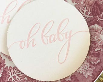 Baby Shower Decorations Girl, Baby Shower Decorations, Oh Baby, Pink Baby Shower, Girl Baby Shower Decor, Oh Baby Coasters, Baby Girl, Favor