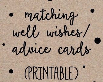 Printable Advice Well Wishes Cards to Match any Invitation Design from OhCreativeOne, DIY digital file