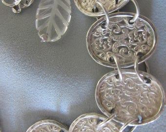 SALEFORONEWEEK - Silver Link bracelet - Embossed Oval Bracelet
