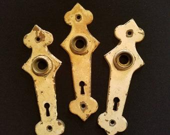 Set of 3 Art Deco Brass Door Plates 1930s Escutcheon