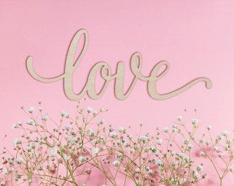 Script Love Wood Sign - Wood Sign Art, Wooden Love, Wood Love Sign, Wood Wedding Decor, 5 Year Anniversary Gift, Script Love, Cursive Love