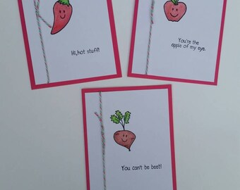 Punny Fruits and Veggies Three Cards Set