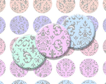Damask Pastel Printable 1-Inch Circles / Bottlecap Images / Light Rainbow Hues / swirly vintage rococo designs / Digital Collage Sheet