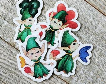 Zelda Minish Cap Vinyl Stickers watercolor hand painted kinstone clover