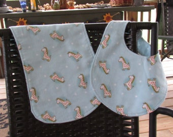 Baby Giraffe Bib and Burp Cloth Gift Set