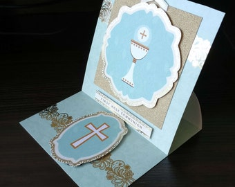 Holy Communion - 3D Easel Style -  luxury personalised unique quality special custom UK - Male/Female