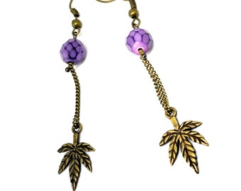 Earrings leaves and purple faceted beads