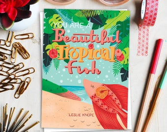 beautiful tropical fish greeting card // parks and recreation card // leslie knope card // ann perkins card // greeting card friends
