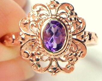 9k Rose Gold, Dark Purple, Ornate Ring, Edwardian Design, Vintage Amethyst Ring, Estate Jewelry, Engagement, Wedding, Promise Ring