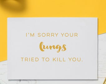 Cancer Card: Lung Cancer, Chemo Card, Illness Card, Cards for Illness, Get Well Soon, Funny Cancer Card, Encouragement Gift, Empathy Card