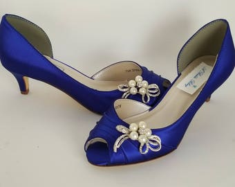 Blue Wedding Shoes with a Crystal and Pearl Bow Blue Bridal Shoes Blue Kitten Heels 100 COLOR CHOICES Cobalt Blue Shoes Royal Blue Shoes