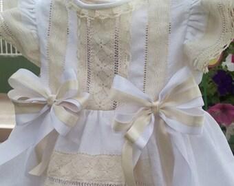 Handmade dress, perfect baptism dress, vintage dress, birthday dress, princess baby dress. summer time dress.