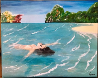 ORIGINAL painting - Relaxing Float in the sea