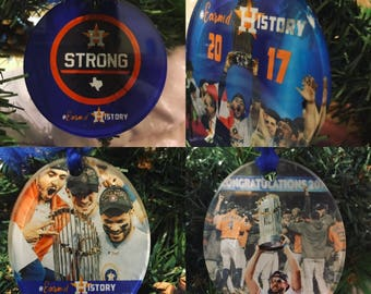 Houston Strong - World Series 2017 Champions - Astros Tree Ornament - Keychain Decoration - #EarnedHistory - World Series Acrylic Gift